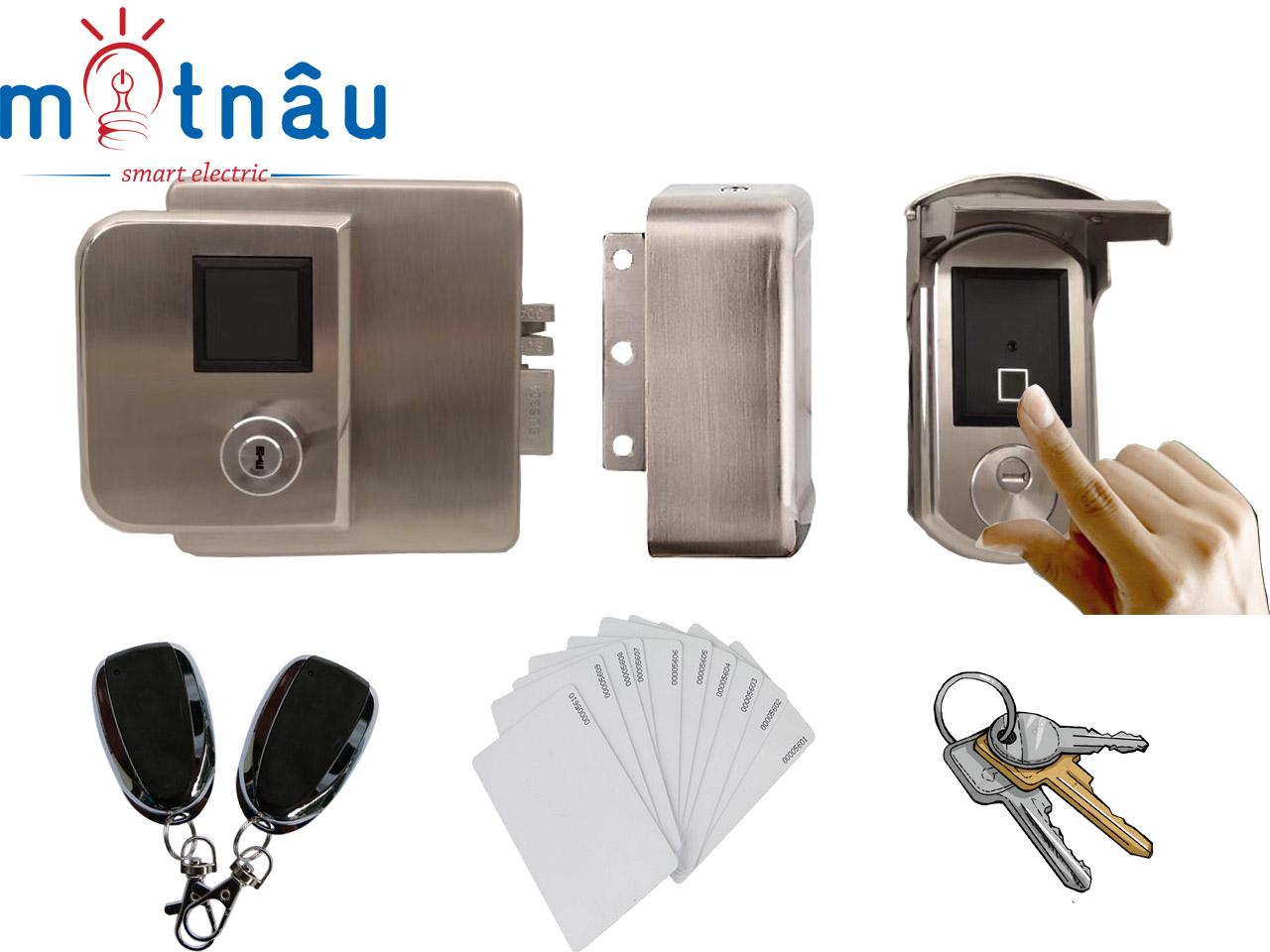 Khóa cổng vân tay, thẻ từ, chìa cơ dùng pin cho cổng sắt VR-1300